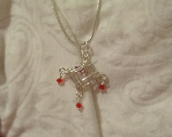 Red Diamond Drop Necklace