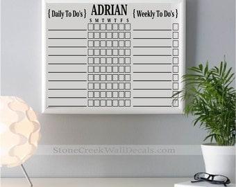 To Do List Erase Chore Chart Erase Board Kids Chore Chart Responsibility Chart 16x20 and 24x36 Chore board Personalized Chore Chart