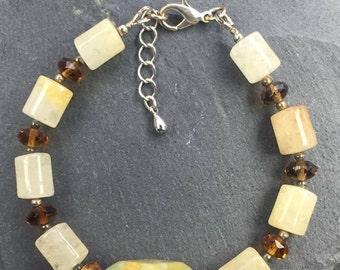 Citrine and African Jade Bracelet