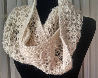Hand-knit lacy loop scarf   light-weight off-white loop scarf   double loop infinity scarf   light alpaca knit loop scarf   knit loop cowl