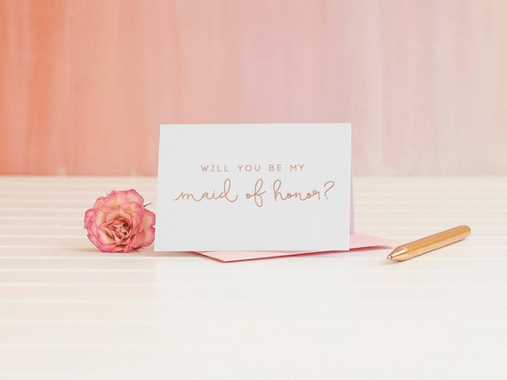 Will You Be My Maid of Honor card in Rose Gold Foil ask bridesmaid proposal invitation gift box foil stamped wedding bridal party blush pink