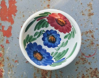 White ceramic bowl with flowers, handpainted, folk style, Bohemian, boho, folk, romantic, poetic, rustic rural country rustic