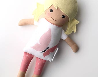 Blonde Fabric Doll - Butterfly t-shirt with pink leggings | Baby Doll | Cloth Doll Rag Doll