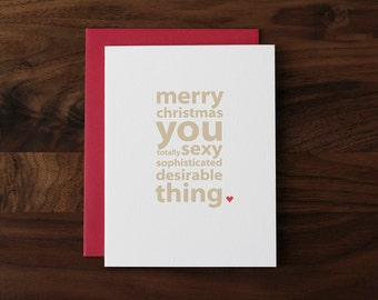 Christmas Love Card - For Totally Sexy Wife, Husband, Girlfriend, Boyfriend - Amorously Flattering Holiday Card - XM14 - by allotria