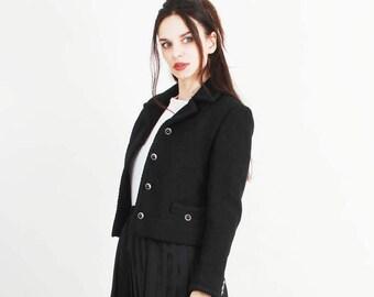 Vintage Black Jacket / Wool Jacket / Classic Jacket / Elegant Jacket / Short Jacket Size XS