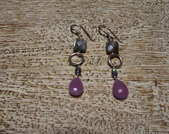 Lilac CHALCEDONY Hoop earrings, Labradorite squares, tanzanite, amethyst. S.S.  faceted gemstones. long/chandelier/