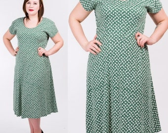 Vintage 80's Green and White Floral Print Midi Dress / Another Thyme / Size Large