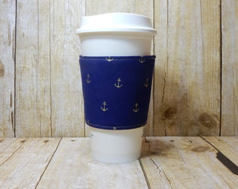 Fabric Coffee Cozy / Gold Anchors Coffee Cozy / Anchors Coffee Cozy / Coffee Cozy / Tea Cozy