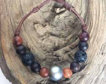 Tahitian pearls on leather bracelet - sandalwood, lava beads, man bracelet