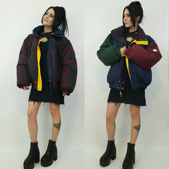 REVERSIBLE Navy Blue + Red Plaid TOMMY Jacket - Extra Large Athletic Colorblock Down Cropped Coat - Puffy Zip Up Mens Womens Unisex Jacket