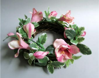 """Silk Flower Centerpiece Wreath, Freesia with Greenery, Pink, Ivory, Apple Green, Violet, Red, Peach, or Light Yellow, 6 inches, """"Davina"""""""