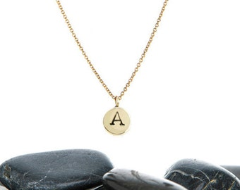 Tiny Initial Necklace in Brass and Gold Fill
