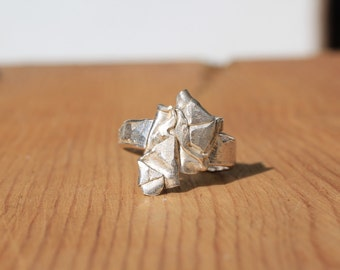 Sz 8 Band Folded Ring - Recycled Sterling
