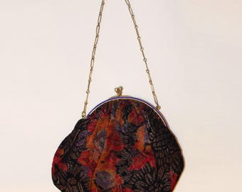 1930's Black and Orange Floral Lamé Handbag