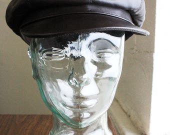 Marzi Vintage Brown Leather Newsboy News Boy Hat Handmade Hat - Made in Italy SZ 58 G21