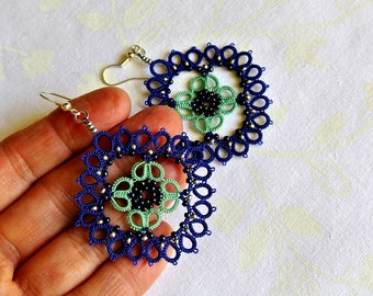 Capri blue tatted  earrings made in Italy | tatting lace  earrings | lightweight beaded jewelry | narcissus| bridesmaid gift | made to order
