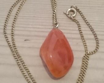Vintage cornelian tumblestone pendant and chain