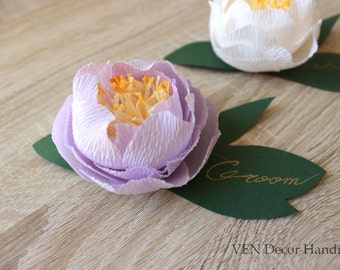 Wedding Place Cards, Paper Peonies Place Cards, Place settings, Table Seating Cards, Wedding Name Cards, Table Name Cards, Paper Decorations