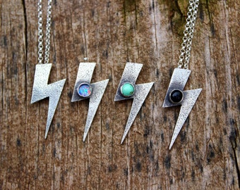 Dainty Layering Lightning Bolt Necklace//Bowie//TCB/Rock and Roll Necklace//Charm Necklace//Stocking Stuffer