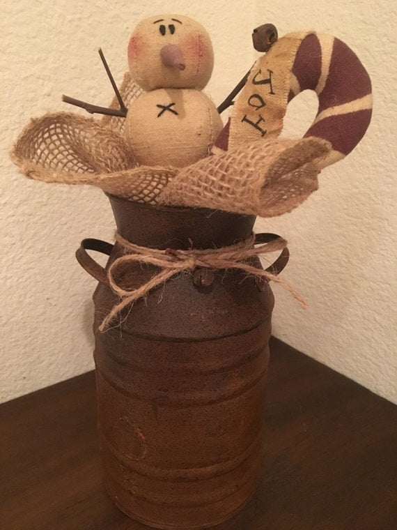 """Primitive Christmas Honey and Me Snowman """"Joy"""" Candy Cane Tin Milk Can Centerpiece ***Free Shipping***"""