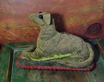Antique Velvet Dog Pincushion, Handmade, Primitive Folk Art Pin Cushion