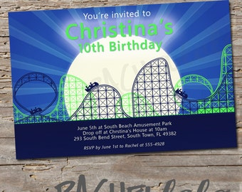Roller Coaster, Blue and Green, Birthday Invitation, Printable, DIY