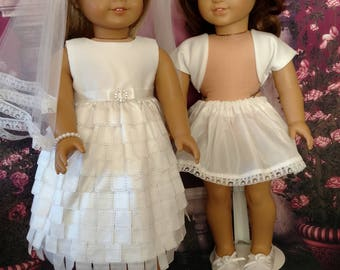"Satin Bride or First Communion dress, shoes, purse jewelry, and accessory -  fits 18"" dolls American Girl, Journey, Madame Alexander"