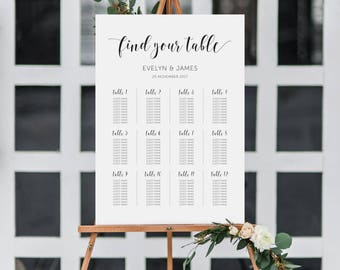 Wedding Seating Chart • Printable • Instant download • Wedding Poster