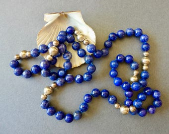 """Beautiful Vintage Lapis and Silver Bead Necklace / 36"""" Hand Made"""