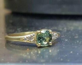 green tourmaline & diamond gold ring
