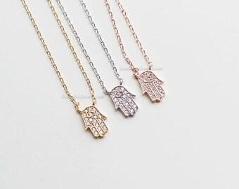Tiny crystal Hamsa Necklace, rose Gold Hamsa Necklace, Hand of Fatima Necklace, Evil Eye, wedding, bridesmaid, birth day gifts