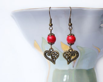 Valentines gift for her Budget gift Heart charm earrings Love Red earrings Colorful Boho Bright earrings Heart jewelry Howlite Stone dangle