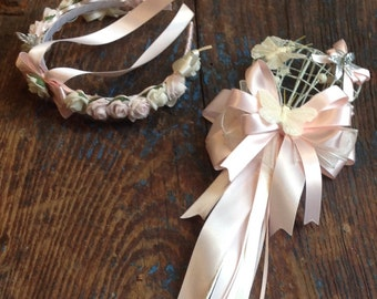 Wedding flowergirl set of 1x wand.  1x headband