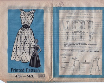 1950s Mail Order 4765 Women's Belted Gathered Boatneck Dress Sewing Pattern UNCUT