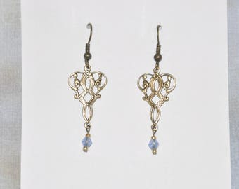 Earrings Brass Filigree Blue Crystal Victorian Gothic #D15b