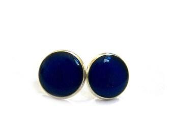DARK BLUE Stud Earrings - blue earrings - blue studs - Night Sky Earstud - Navy Jewelry - gift for woman - bridesmaid gift  - block color