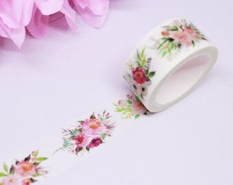 Floral Bouquet Washi, Floral Washi Tape, Bouquet Washi Tape, Pink and Green Washi Tape, Watercolor Floral Washi, Flower Washi Tape | 004