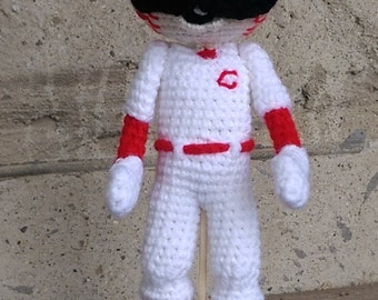 Crochet Mr Redlegs - Cincinnati Reds Doll - Baseball Mascot - Made to Order