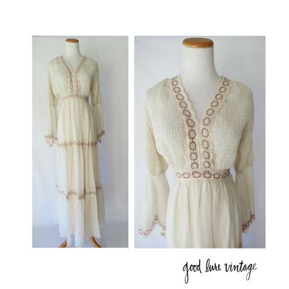 Bell Sleeve Wedding Dress: Bell Sleeve Wedding Dress Hippie Boho Lace 70s Angel Wing Maxi
