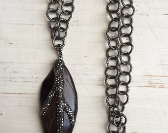 Pave Gunmetal Crystal Cattle Leaf Pendant Necklace on Gunmetal Large Textured Chain