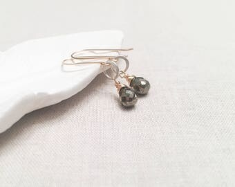 Modern Mixed Metal Pyrite Drops - 14k Yellow Gold Fill Wire Wrapped Faceted Silver Pyrite Gemstones on Sterling Silver Circles Trendy Simple