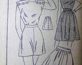 UNUSED Vintage 1940s Mail Order Pattern 2012 PLAYSUIT and Skirt Pattern sz 15
