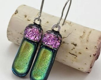 Fused Glass Earrings, Dichroic Glass Jewelry, Green Glass Earrings, Fused Glass Jewelry, Hypoallergenic Earrings, Titanium Ear Wires