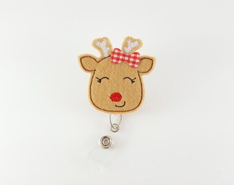 Reindeer - Felt Badge Reel - Nurse Badge Holder - RN Badge Reel - Retractable Badge - Pediatric Badge Clip - Holiday Name ID Badge - Teacher