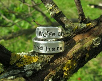 Alice in Wonderland ring, Were All Mad Here, Wonderland jewelry, Alice in Wonderland Jewelry, Mad Hatter, Cheshire Cat ring, Wonderland ring