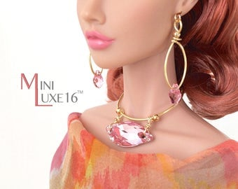 "16"" Doll Jewelry - Pink Swarovski Crystal Set - Avantguard, Sybarite, FR16, Tonner Tyler, Poppy Parker Fashion Teen"