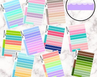Scalloped Appointment Strips - 12 Colour Variations Available!! - 24 stickers per sheet! - use for appointments, events etc - Premium Matte