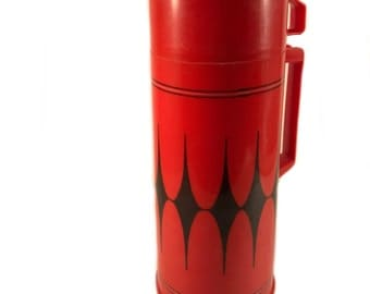 Vintage Aladdin Thermos - Red and Black Harlequin Aladdin Thermos