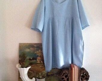 Custom order Clothing Womens Gatherer Dress Smock Linen Cotton Sustainable Eco Handmade Free size medium Blue Pockets