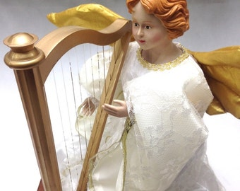 "gorgious Victorian angel playing harp, animated musical Christmas angel (12"") batteries included; yesteryears classic music enthusiast gift"